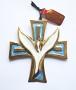 Croix Esprit Saint bronze émaillé deux tons