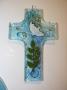 Croix en verre arbre et colombe